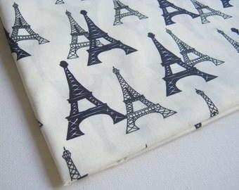 Eiffel Tower, Fabric of  Paris, White  fabric, Paris tourist attraction, Dress, ipad case, handmade bag, Lady blouse, Pillow cover, CT178