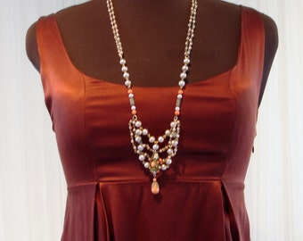 "Silk Babydoll Dress in Copper/Oxblood/Rust/Brown with Slash Pockets 36"" Bust"