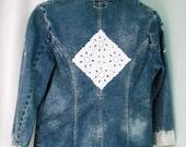 Large Cottage Country Chic Upcycled  Denim Jacket