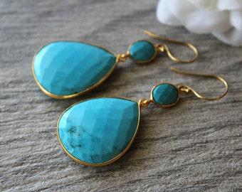 Large Blue Turquoise Double Drop Earrings, Genuine Turquoise, Large Blue Stones, Turquoise Jewelry, Gold Vermeil, Large  Blue Dangles