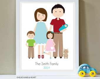 Custom Portrait, Family Portrait, New Baby, Family of Five and Pet, Father's Day
