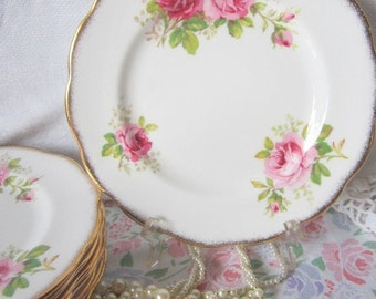 American Beauty Pink Rose Vintage Royal Albert 8 1/4 inch SIDE Dessert Salad Plate England 3 available