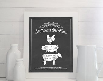 Butchers Selection: An Illustrated Guide - Print - Kitchen, Meat Cuts, Butcher, Poultry, Pork, Beef, Steak, Chalkboard, Sign, Decor