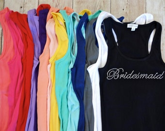 SALE  XXL and XXXL only. Bridesmaid Tank Top Shirts. Bride, Maid of Honor, Matron of Honor. Bridesmaid Shirts, Bridesmaid Gift, Bachelorette