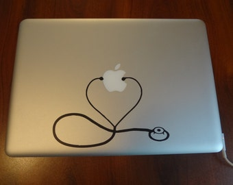 Stethoscope Decal MacBook Pro Air 13 inch PC Laptop 15 17 Decal Sticker Heartbeat Heart Doctor Nurse Med School RN STNA  Nursing Student
