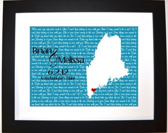 Place location t for couple husband newlyweds present wall art