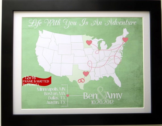 Gift For Newly Wed: Travel Map Gift For Newlyweds Couple Honeymoon Cute By Picmats