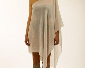 One Shoulder White Beach Coverup, Kaftan, Tunic, Caftan, handmade of cotton gauze.