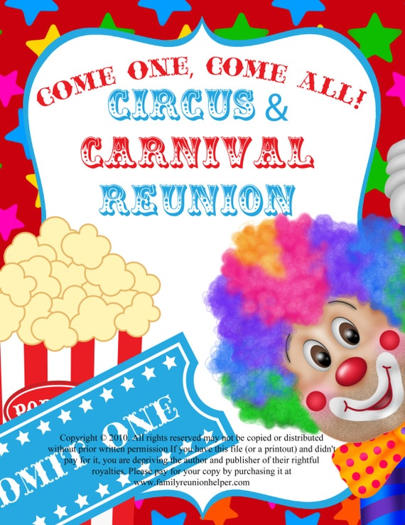 Circus Or Carnival Themed Family Reunion Or Party Digital Download  40  Pages Of Ideas, Invitations, Water Bottle Labels And Name Badges.  Free Printable Family Reunion Templates