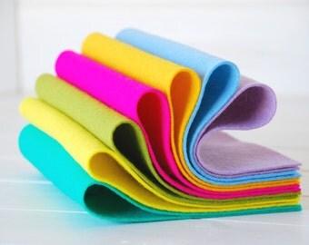 "100% Wool Felt Sheets - ""Spring Season Collection"" - 7 Wool Felt Sheets of 8"" x 12"" -  Spring Wool Felt Sheets Bundle - 100 wool felt"