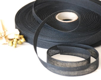 "Charcoal Cotton Ribbon - 3 or 6 Yards of 100% Cotton Ribbon - 1/2"" wide - Loose Weave Charcoal Ribbon - Buy More and Save - Eco Friendly"