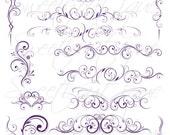 PURPLE Digital Flourish Swirls Clip Art Wedding Clip Art Digital Scrapbook Decoration Embellishment Instant Download 0629
