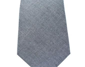 Necktie - Grey Chambray - Men's Necktie