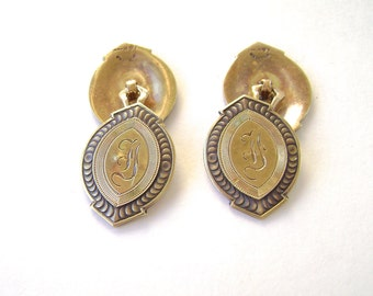 14K Solid Gold Cufflinks, Edwardian, Guilloche, Engine Turned, Victorian, 14 Karat, Double Sided,