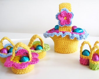 Crochet Pattern Easter Baskets INSTANT DOWNLOAD PDF, egg, chocolate,cute, uk & us crochet terms, No17