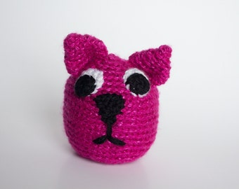 Crocheted Cat - Serious Little Pink Kitten, Amigurumi Stuffed Animal, Cute Cat Head - Perfect for Babies and Toddlers - Fun Stocking Stuffer