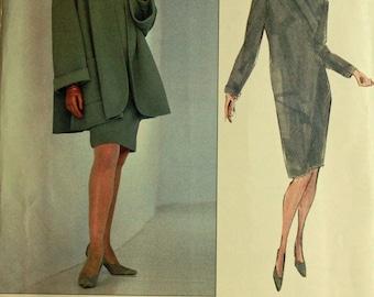 "Jacket & Dress by Oscar de la Renta - 1990's - Vogue Pattern 2560  Uncut Sizes  8-10-12  Bust 31.5-32.5-34"""