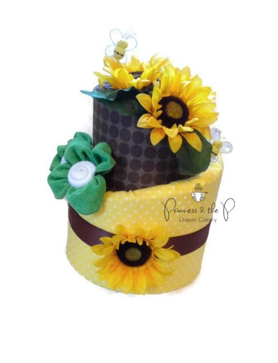 Sunflower topsy turvy diaper cake baby shower