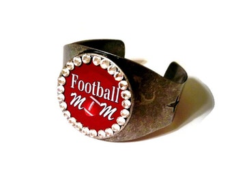 Personalized Football Gifts, Football Bracelet, Football Mom, Cuff Bracelet, Rhinestone Bracelet, Football Bling