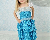 Ice Dress Only, Satin and silk dress up costume, Ruffled Dress, Toddler girl  Pettidress