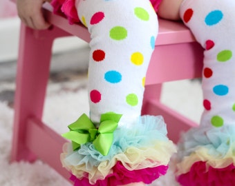 Carnival Leg Warmers leggings baby girl Ruffled Tulle Pants Birthday Outfit Bright Polka dot Colorful