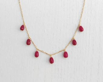 Summer SALE - Red jade necklace, Red and gold necklace
