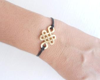 Celtic knot bracelet, Gold leather bracelet, Eternity bracelet