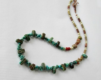 Turquoise Necklace, Natural Kingman Turquoise and Gemstone Asymmetrical Necklace