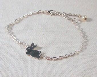 Silver Rabbit Bracelet, Cute Bunny, Dainty Jewelry, Minimalist