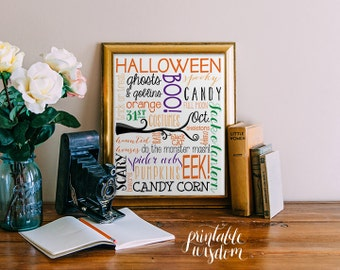 Halloween subway art printable wall fall decor print autumn season pumpkin typography halloween art decoration holiday decor - digital PDF