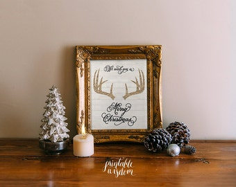 INSTANT DOWNLOAD Christmas printable decoration, holiday wall art decor poster christmas carol, antlers glitter digital typography christian