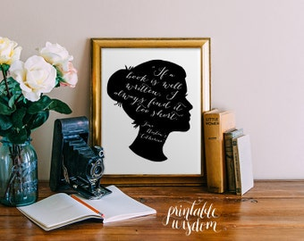 Jane Austen printable quote wall art wall decor print inspirational quote poster, jane austen silhouette art digital print Printable Wisdom