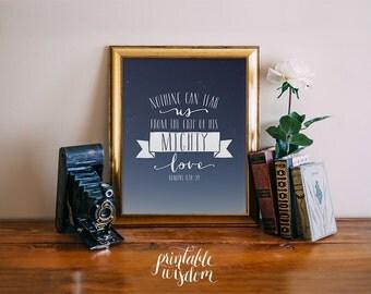 Bible verse art print printable nursery scripture wall art stars print, wall decor Romans 8:38-39 inspirational quote INSTANT DOWNLOAD