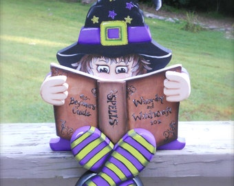 Cute Halloween Witch in Training hand painted shelf sitter wood craft