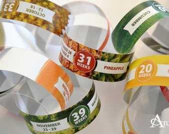 Custom Pregnancy Countdown Paper Chain with Food Size Comparison
