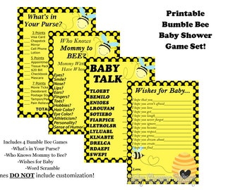 Bee Baby Shower Game Pack, Mommy To Bee Baby Shower Game, Bumble Bee Baby