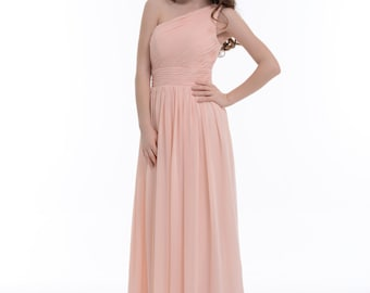 One-Shoulder Bridesmaid Dress, Pearl Pink  A-Line Floor-Length Chiffon Bridesmaid Dress With Ruffle