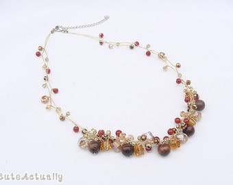 Orange brown stone necklace with tiger's eye stone and crystal on gold silk thread, orange, brown, green, red, chunky