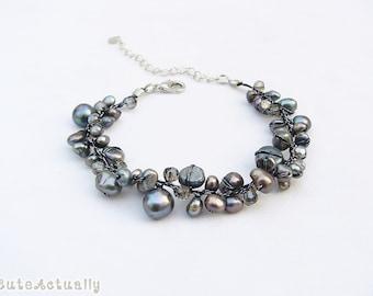 Black freshwater pearl bracelet with crystal on silk thread, black pearl bracelet