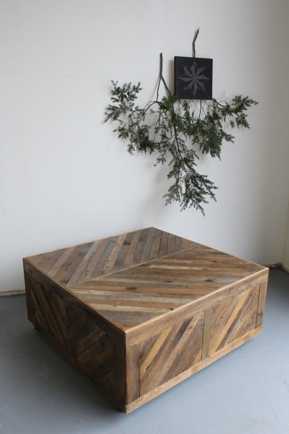 Reclaimed Chevron Pallet and Barn Wood Coffee Table with Storage on Casters Modern Rustic