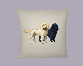 White and Black Vintage Poodles Illustration 16x16 Pillow Cover  - Choice of fabric