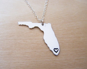 Hand Stamped Heart Florida State Sterling Silver Necklace / Gift for Her