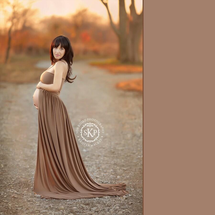 Maternity Gowns: Vivian Maternity Gown Maternity Dress In Brown Mocha