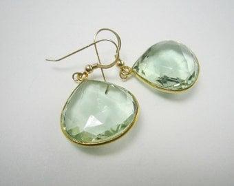 Light Green Amethyst Teardrop Earrings, Gold Vermeil Bezel Setting, 14k Gold Filled, Gemstone Earrings, Sage Green, February Birthstone