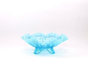 Lovely Antique Jefferson Glass Bowl - Blue Glass Bowl - Candy Dish - Blue Wedding Decor - Meander Pattern - Footed Blue Opalescent Bowl
