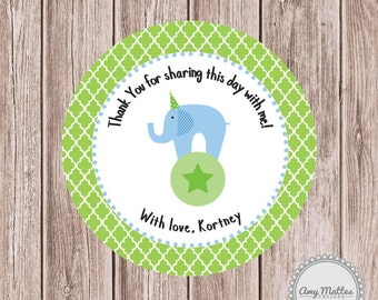 Circus Elephant Favor Tags or Stickers Baby Shower Printed for You