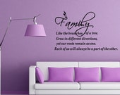 Family Is Like The Branches of a Tree Wall Decal Quote Sayings Vinyl Decal (B63)