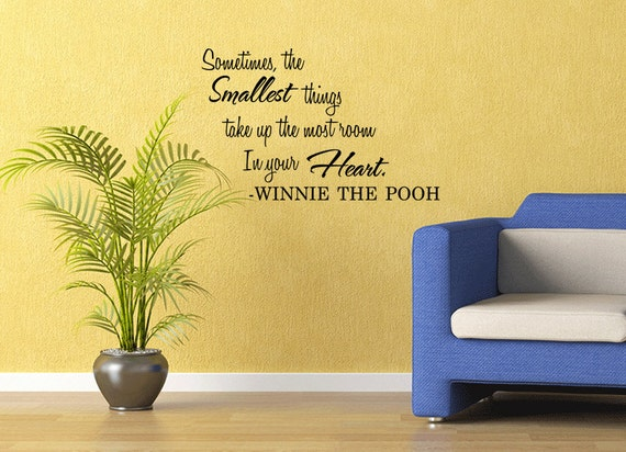Wall Quotes Winnie The Pooh Smallest Things Removable Wall Sticker Nursery Wall Decal Quote (110)
