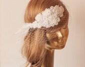 Ivory Lace BIRDCAGE VEIL, Vintage Style Birdcage Veil. Bridal FASCINATOR.