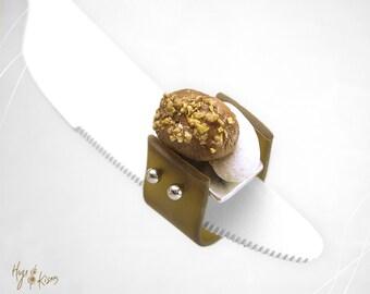 Christmas Ring, Greek Traditional Dessert Ring, Melomakarono Ring, Kourabies Ring, Miniature Food Jewelry.Christmas Jewelry,Kawaii Ring